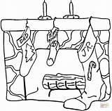 Fireplace Coloring Desenhos Colorir Presents Printable Lareira Noel Desenho Coloriage Colorier Template Colouring Geschenke Cheminee Malvorlagen Weihnachten Imprimir Chaussette Natal sketch template