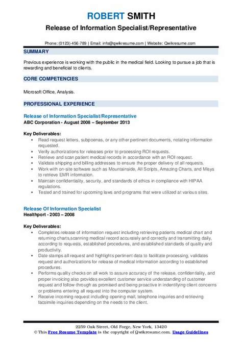 release  information specialist resume samples qwikresume
