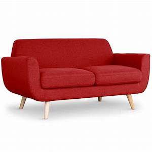 canape scandinave 2 places tissu rouge lestendancesfr With canape 2 places rouge