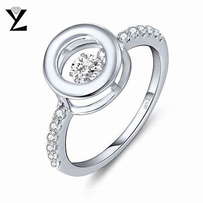 Dancing Rings Silver Sterling Jewelry Stone Engagement