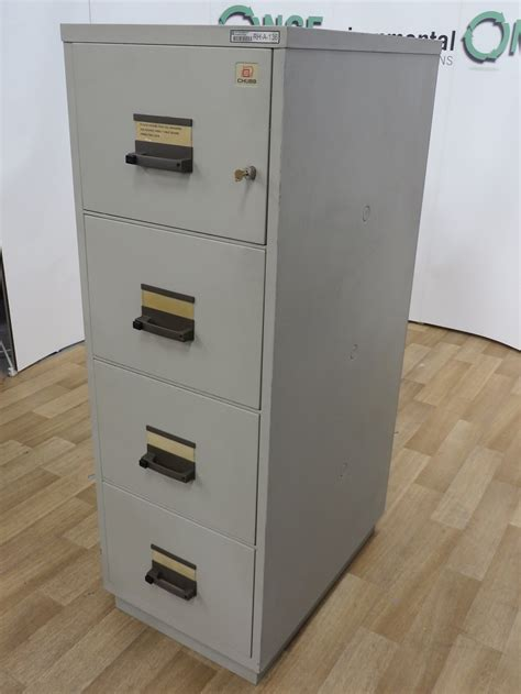 used office storage chubb 4 drawer fireproof filing cabinet 1560h x 535w x 810d