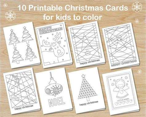 10 Christmas Cards For Kids To Colour Instant Download