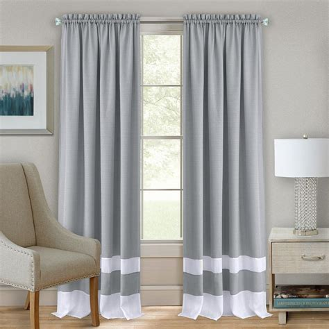Grey Drapery Panels achim darcy grey white polyester rod pocket curtain 52 in