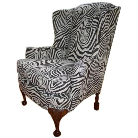 a quot regal quot antique zebra print wing chair 19thc at 1stdibs