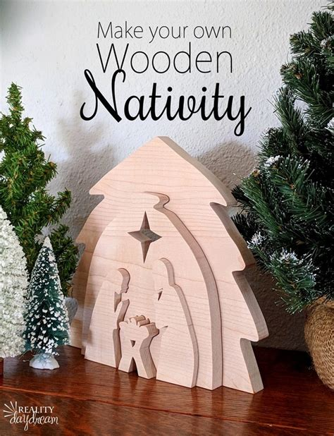 wooden nativity set  scroll  pattern