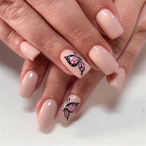 Diseños de uñas color bronce. 15 Diseños de uñas de mariposa que te van a encantar mucho - Moda y Estilo