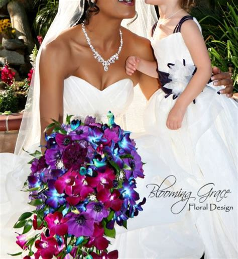 Cascade Wedding Bouquet With Purple Blue And Magenta
