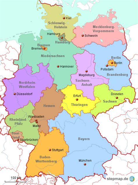 größe deutschland stepmap deutschland politisch landkarte f 252 r deutschland