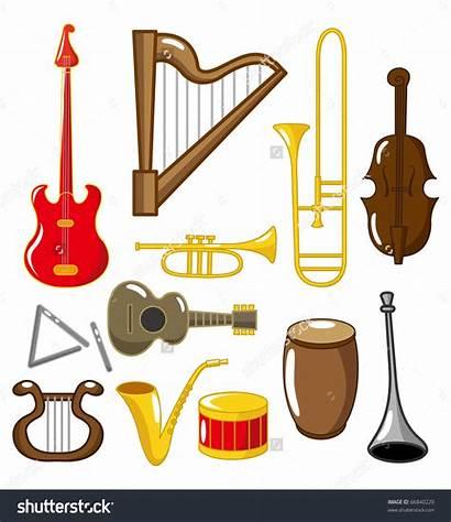 Instruments Musical Clipart Cartoon Playing Self Shutterstock