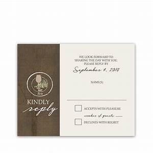 Rustic Vineyard Vintage Wine Glass Wedding RSVP Cards