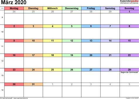 kalender maerz als excel vorlagen