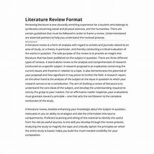 literature review outline template 8 free sample With template for writing a literature review