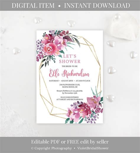 Pink and Purple Bridal Shower Invitation Template