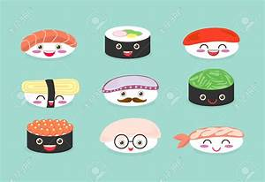 Sushi clipart japanese cartoon - Pencil and in color sushi ...