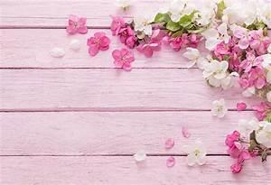 7x5FT Hot Pink White Floral Flowers Petal Light Pink Wood ...