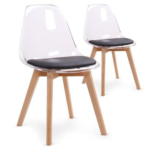chaises plexi chaises scandinaves plexi noir lot de 2 pas cher