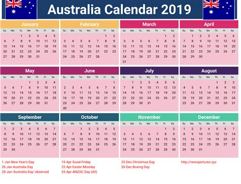 Free Printable 2019 Calendar With Australia Holidays