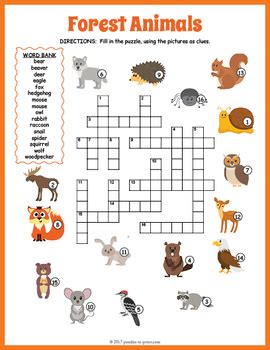 forest animals crossword puzzle  puzzles  print tpt