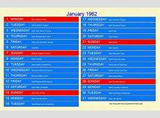 January 1962 Roman Catholic Saints Calendar
