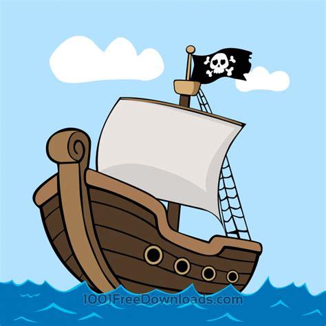 Ship Cartoon by Free Vectors Pirate Ship On Sea Vintage
