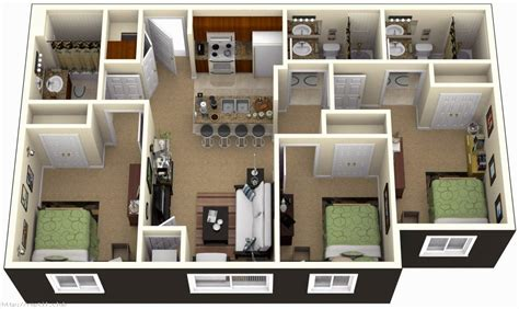 3 Bedroom House Plans 3D Design with 3 bathroom House
