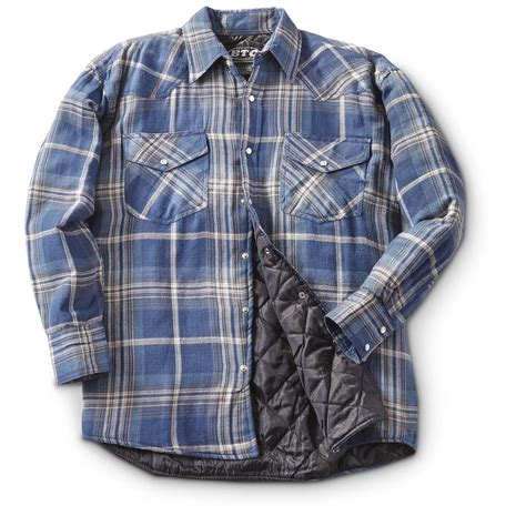 flannel shirt jacket with quilted lining quilted lined flannel shirts