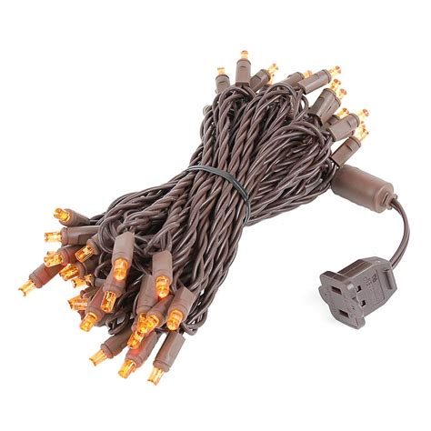 brown wire wide angle orange amber 50 bulb led christmas