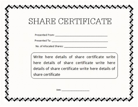 Corporate Stock Certificate Template Free by 13 Stock Certificate Templates Excel Pdf Formats