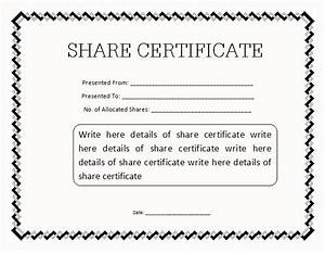 13 share stock certificate templates excel pdf formats With share certificate template australia