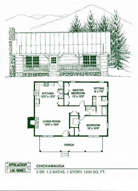one bedroom cabin plans chickamauga 2 bed 1 5 bath 1 story 1200 sq ft 16553 | bc0ec71a90ddc964b45a67d40539a6a4