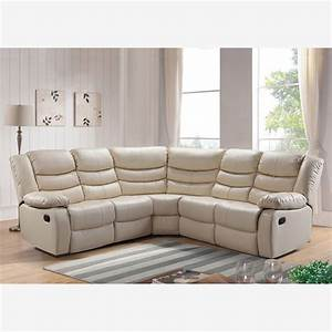 Belfast reclining corner sofa in ivory bonded leather for Sectional sofa with corner recliner