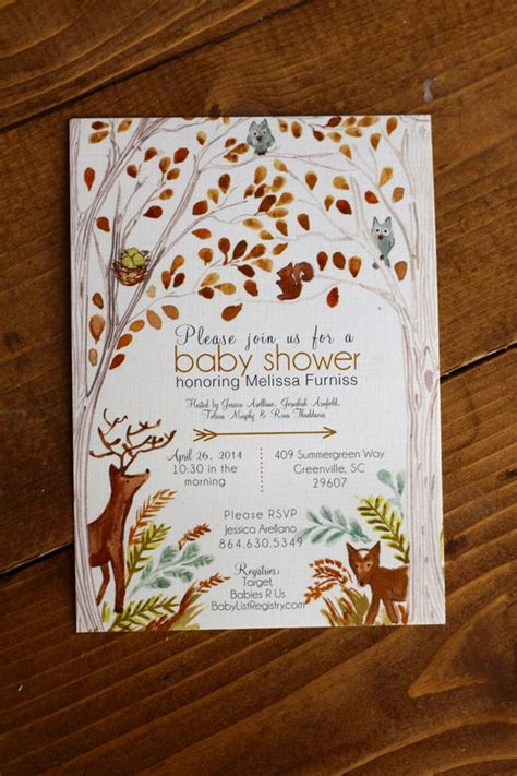 items similar  woodland forest baby shower invitation