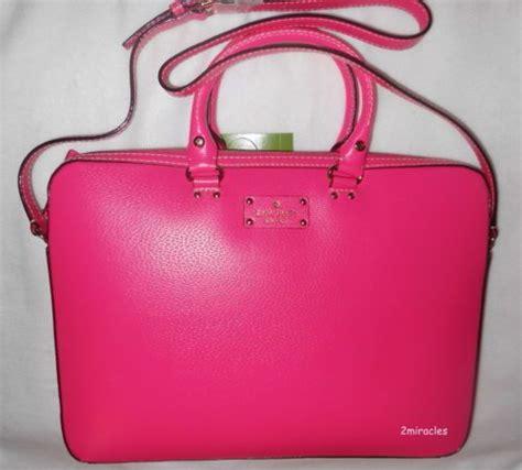 kate spade tanner hot pink leather laptop bag