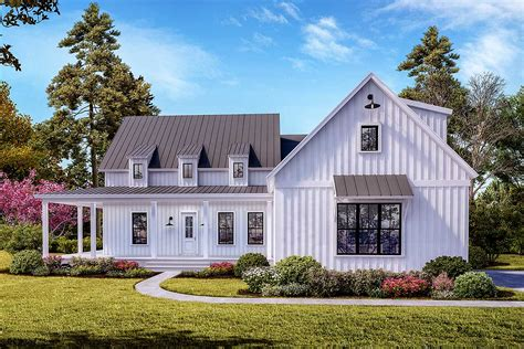 Modern Farmhouse Plan With 3 Shed Dormers And A Wraparound