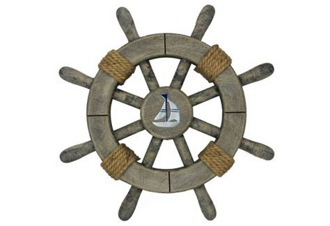 Rustic Decorative Ship Wheel With Sailboat