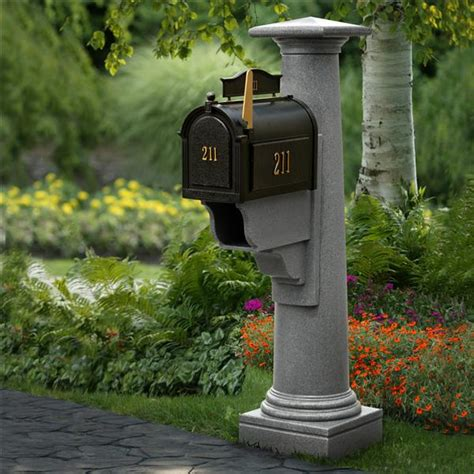 mayne post statesville mailbox package with granite post