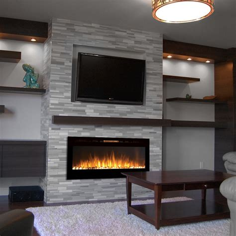 electric wall fireplace sydney 50 inch pebble recessed pebble wall mounted