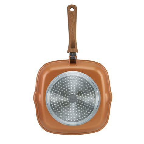 jml copper stone pans  stick anti scratch hard wearing wood effect handle ebay