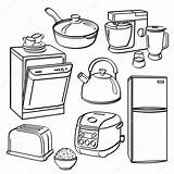 Kitchen Utensils Appliances Coloring Pages Sketch Stove Illustration Dryer Different Washer Depositphotos Tools Illustrator Dishwasher Kinds Printable Template sketch template