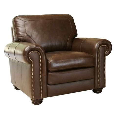 abbyson living bronston leather arm chair in brown sk