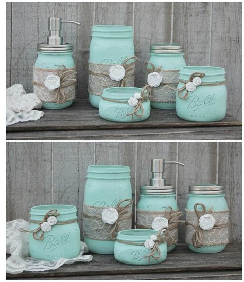 green shabby chic mason jar bathroom set mint green shabby chic soap dispenser bathroom jars 5 piece burlap
