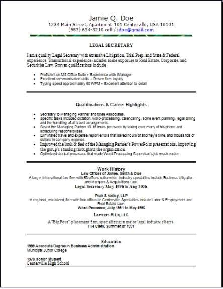 legal resume occupationalexamplessamples  edit