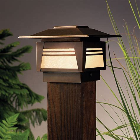 mission style l post lights kichler 15071oz zen garden 12v deck post light