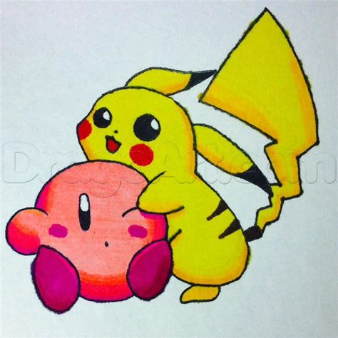 How To Draw Kirby And Pikachu Step By Step Video Game