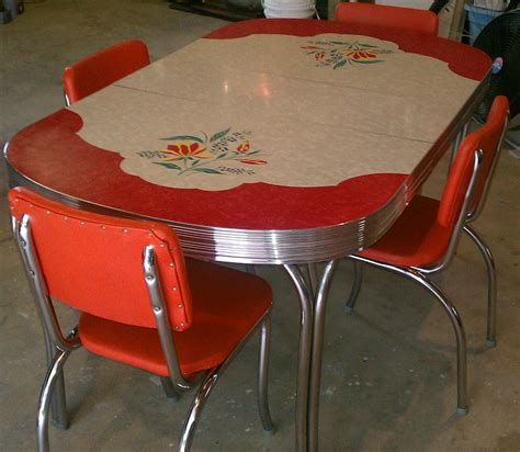 table cuisine retro vintage kitchen formica table 4 chairs chrome orange
