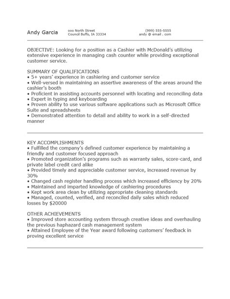 Description For Mcdonalds Cashier For Resume free mcdonald s cashier resume template sle ms word