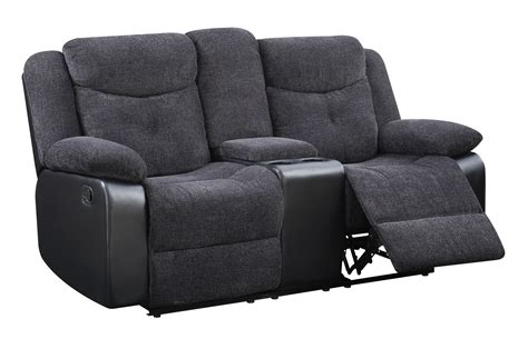 Reclining Fabric Loveseat by U1566 Mouse Fabric Console Reclining Loveseat By Global