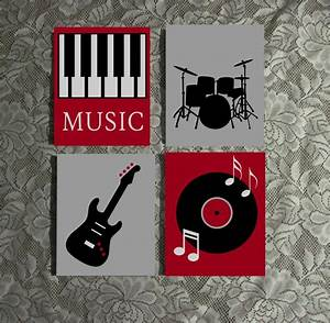 Music Themed Wall Art Hand Painted Canvas Music Room Decor