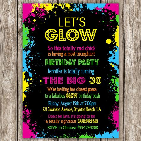 neon party invitation wording neon party invitations