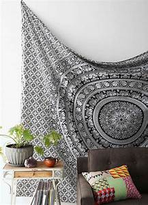 Black and White Tapestries Elephant Mandala Hippie ...